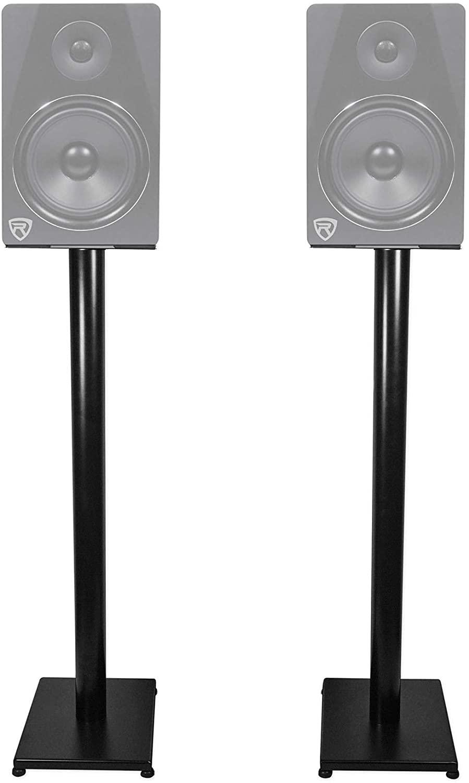 """B084HJRXZ6 Rockville Pair RS37B 37"""" Steel Bookshelf Speaker/Studio Monitor Stands in Black V2"""