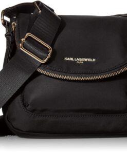 B07TFWQ879 Karl Lagerfeld Paris Cara Small Flap Messenger Bag, Black/Gold