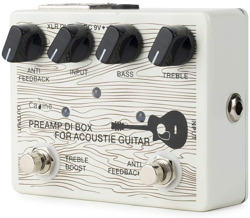 B07M8VQBD9 Caline Acoustic Guitar Pedal Electric Preamp DI Box Effects Reverb Boost Pedals White CP-67