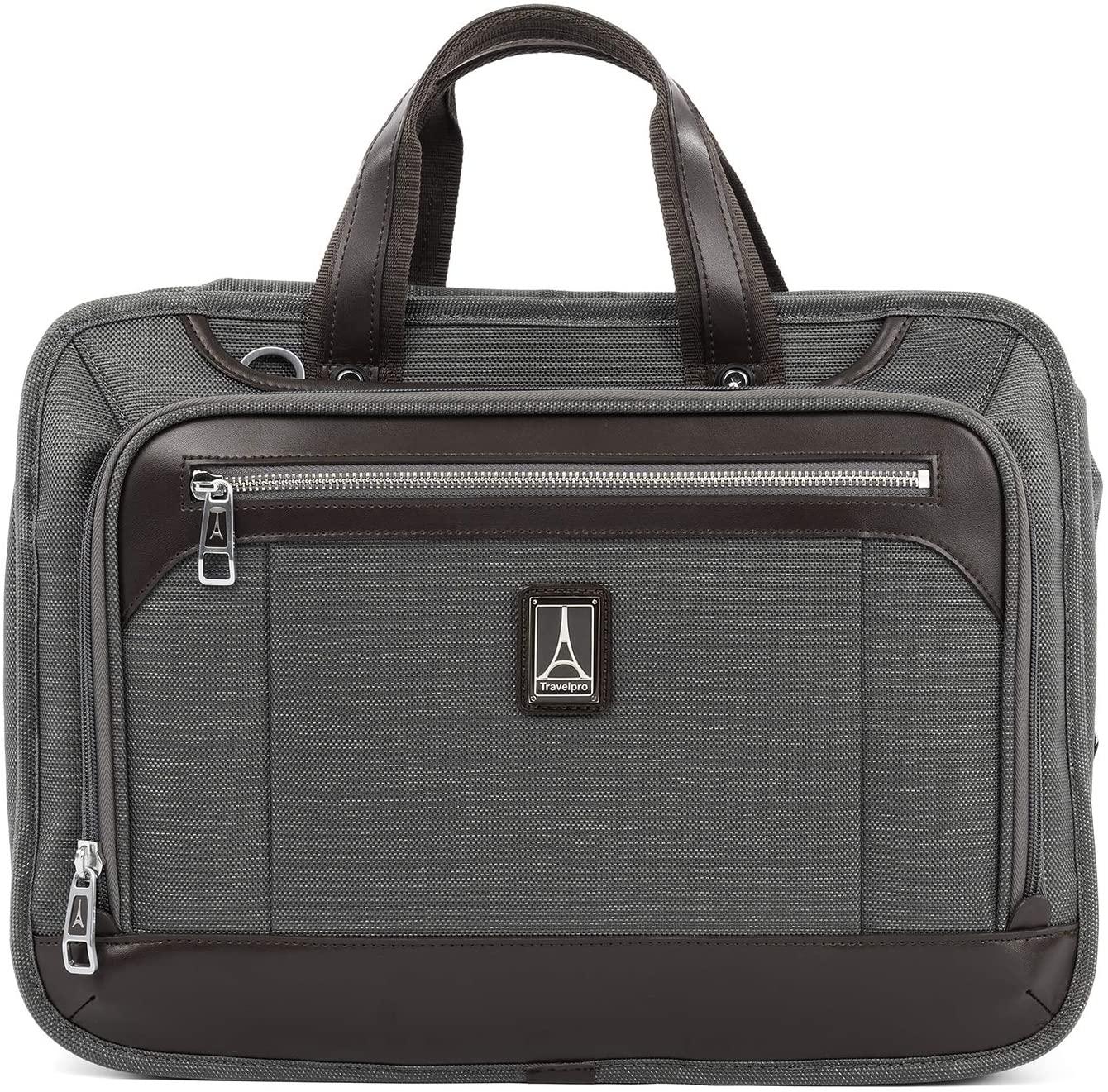 B07DLB6JWT Travelpro Platinum Elite-Slim Business Laptop Briefcase, Vintage Grey, 16-Inch