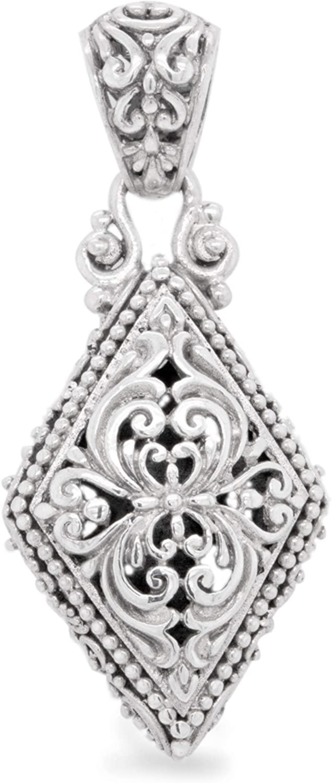".925 Sterling Silver Scrolled Diamond Shape 1-3/4"" Pendant, Handmade by Bali Artisans"
