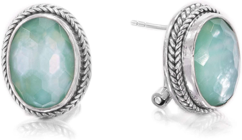 .925 Sterling Silver Oval Green Chalcedony Mother of Pearl Quartz Triplet Earrings or Pendant - Handmade by Bali Artisans