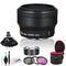Nikon 32mm F/1.2 Lens (Black) with Microfiber Cloth, Lens Cleaning Kit, 3-Piece Filter Kit, Close Up Filter Kit