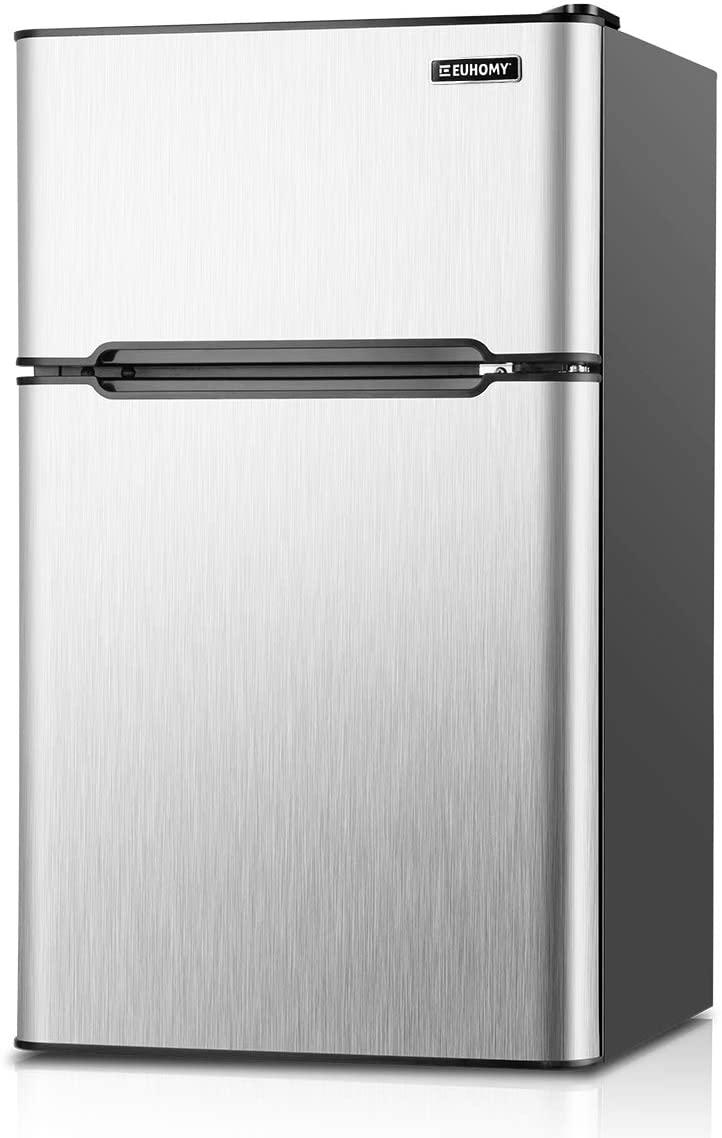 B07XJRZR8P Euhomy Mini Fridge with Freezer, 3.2 Cu.Ft Mini refrigerator with freezer, Dorm fridge with freezer 2 door For Bedroom/Dorm/Apartment/Office - Food Storage or Cooling Drinks(Silver).
