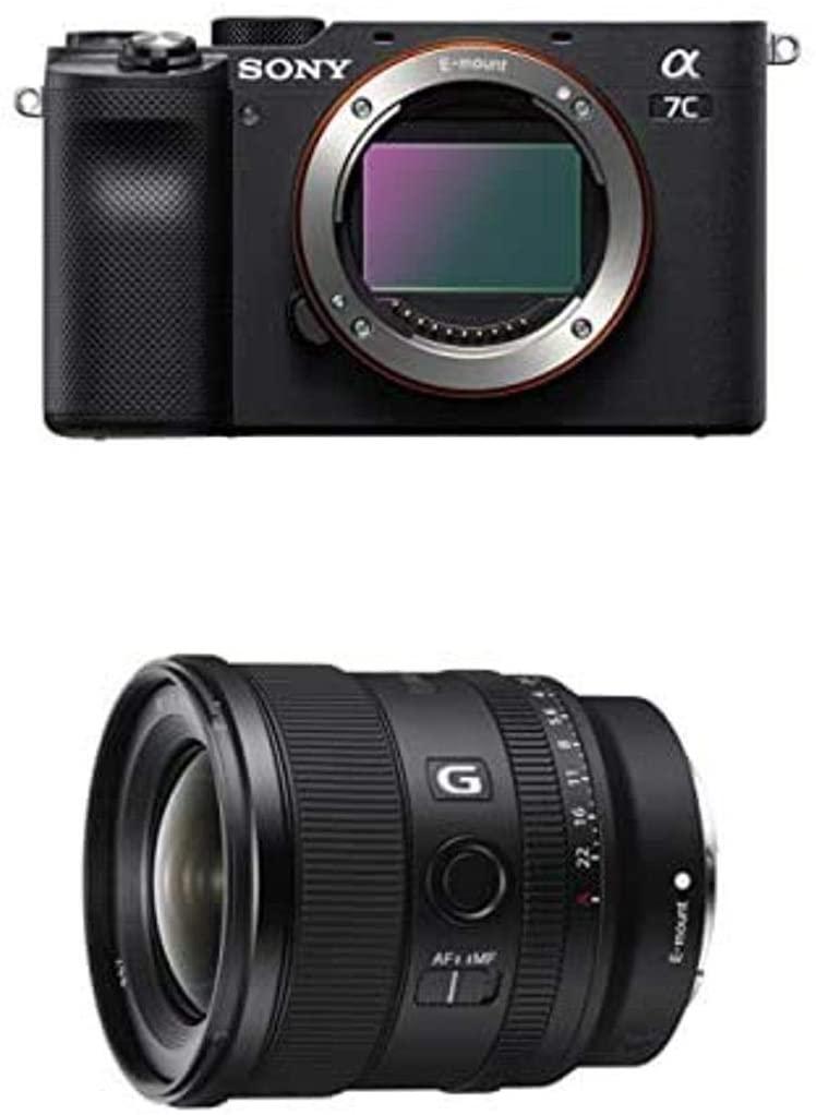 B08JJ3YMB6 Sony Alpha 7C Full-Frame Mirrorless Camera - Black with Sony FE 20mm F1.8 G Full-Frame Large-Aperture Ultra-Wide Angle G Lens, Model: SEL20F18G