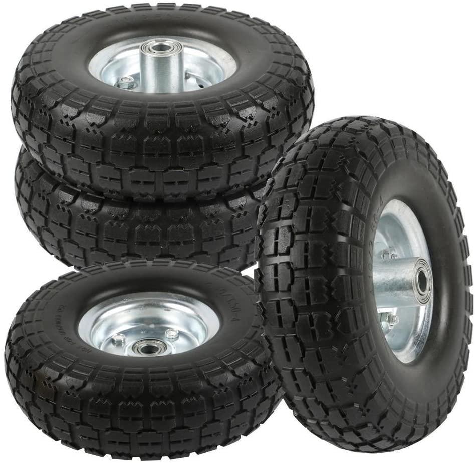 B079CDX4CS go2buy 4 Pcs 10-Inch Solid Rubber Tyre Wheels for Garden Utility Wagon Cart Trolley Tires Snowblower Lawn Mower Wheelbarrow Generator Hand Cart 5/8-inch Bearings Black