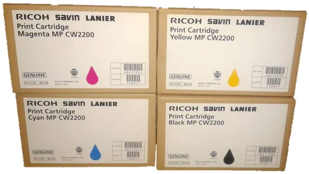 B01N0KW6YT Ricoh MPCW2200SP Toner Set All Four Colors Genuine Ricoh CW2200SP CW2200 Lanier MP CW2200SP CW2200 Toner