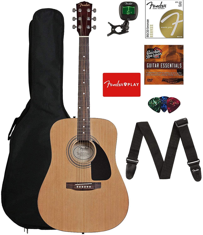 B08FBQSHKK Fender FA-115 Dreadnought Acoustic Guitar - Natural Bundle with Gig Bag, Tuner, Strings, Strap, Picks, and Austin Bazaar Instructional DVD