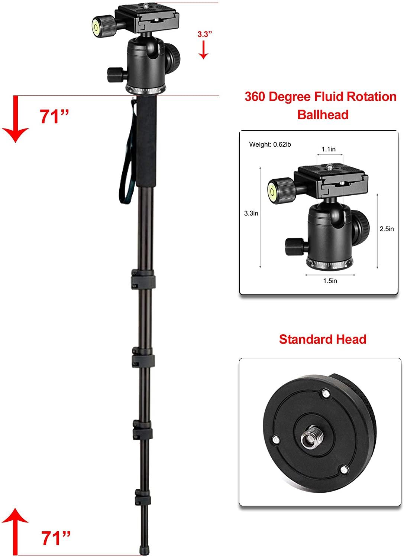 "B07JGTMR13 Professional Heavy Duty 72"" Monopod/Unipod (Dual Optional Head) for Pentax Zoom Normal-Telephoto SMCP-DA 50-135mm f/2.8 ED (IF) SDM"