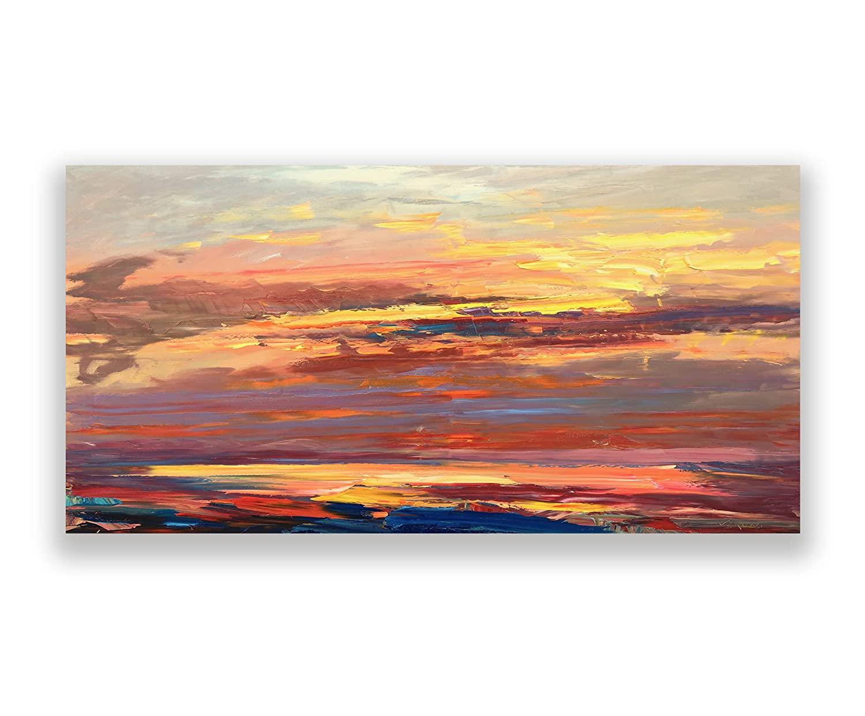B084MJNMRV Abstract Painting on Canvas, Original Painting, Orange Sunset Painting, Impressionist Art, Living Room Wall Art, Large Wall Art