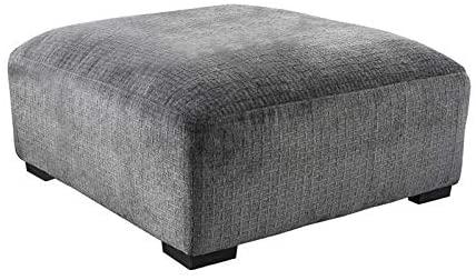 B07KSM45MY Furniture of America Turnstein Contemporary Chenille Square Ottoman in Gray