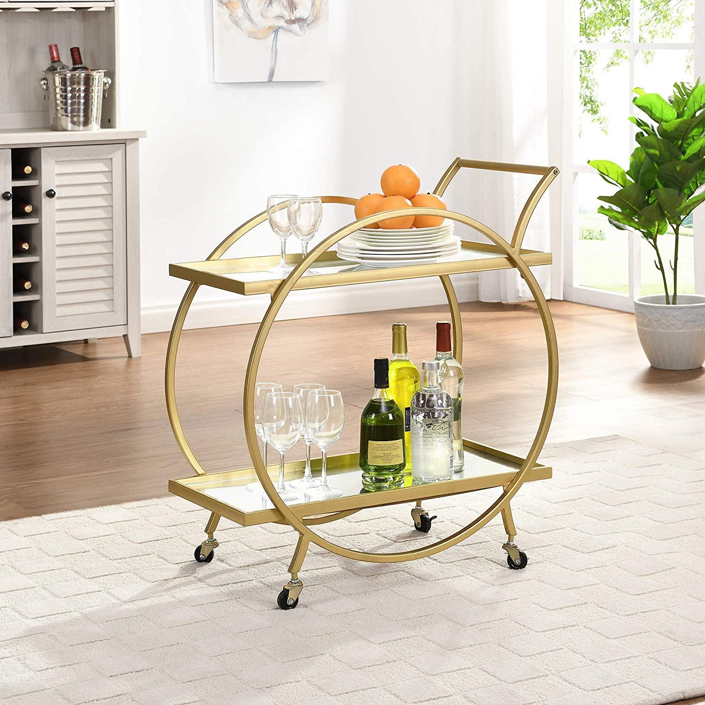 B085FLZT7S FirsTime & Co. Gold Odessa Bar Cart, American Crafted, Gold, 28 x 14 x 32 ,